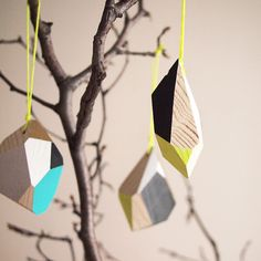 Geometric Wooden Ornament / Hand painted / by FlaneursPocket