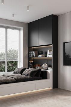 Grey Bedroom Decor, Master Bedroom Interior, Modern Bedroom Design, Home Bedroom, Modern House Design, Design Your Home, Home Interior Design, Bed Frame And Headboard, Dream Rooms