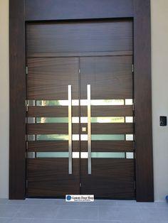 Unique Contemporary Front Door With Grid Design Mahogany