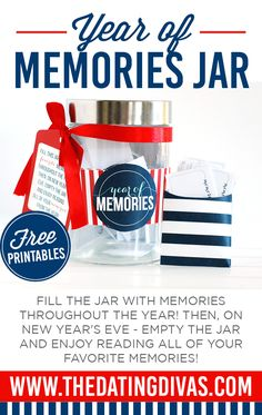 New Year's Idea: Fill the jar with your favorite memories throughout the year. Then, on New Year's Eve, open the jar and enjoy reading all of your memories! Graduation Party Centerpieces, Graduation Party Decor, Grad Parties, Memories Jar, Family Memories, Cherished Memories, New Years Eve Traditions, Holiday Traditions, Pots