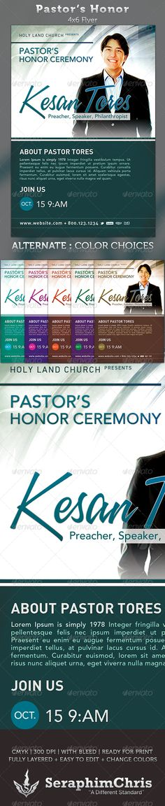 Pastor's Honor: Church Flyer Template This Pastor's Honor: Church Flyer Template is customized for church events that needs a modern and unique look. You can change colors and drop your photo in place with ease. Add this to your promotional arsenal for a maximum effect with your contemporary audience.