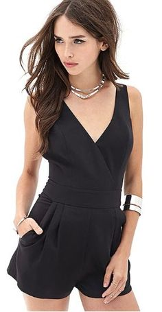 Sophisticated romper with perfect jewelry match.
