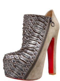 247282ba8617 Christian Louboutin 4a Pythonsuede Platform Bootie in Beige (natural)