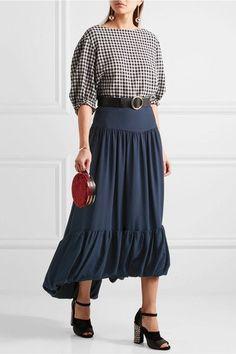 Sonya Rykiel - Navy Silk Crepe de Chine Midi Skirt - $960