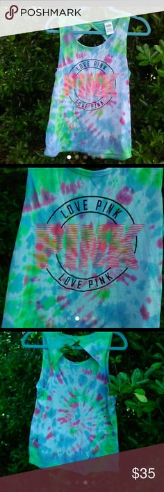 VS PINK tie dye Open Back Tank Shirt M PRICED TO SALE!!!! VS PINK Tie dye Open back Tank Size M Beautiful Colors Perfect for Summer Great addition to your PINK Collection! No Free shipping Price Firm! PINK Victoria's Secret Tops Tank Tops