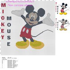 Disney Topolino grande schema punto croce circa 150 crocette idea cuscino bambino