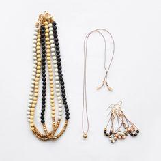 yellow + black beads