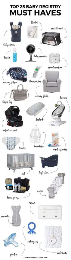 Top 25 Baby Registry Must Haves Creating the perfect registry can be overwhelming, time consuming and costly. Skip the mistakes of a first time mom and discover what baby items you actually need! Baby Must Haves, Baby Registry Must Haves, New Born Must Haves, Best Baby Registry, Baby Registry Items, Baby Necessities, Baby Essentials, Our Baby, Baby Boys