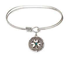 7 inch Oval Eye Hook Bangle Bracelet w Shamrock w Celtic Border medal charm w May Green Swarovski Crystal *** You can get more details by clicking on the image.