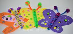 Bright and Beautiful Butterfly Craft - Mom On Timeout Easy Crafts For Kids, Craft Activities For Kids, Crafts To Do, Art For Kids, Craft Ideas, Bug Crafts, Stick Crafts, Spring Activities, Kids Fun