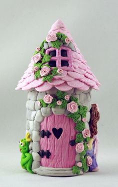 Polymer clay cottage,polymer clay house,polymer clay craft; TO SEE MY PAPER DESIGNS, PLEASE VISIT MY ETSY SHOP AT: https://www.etsy.com/shop/MyParfum