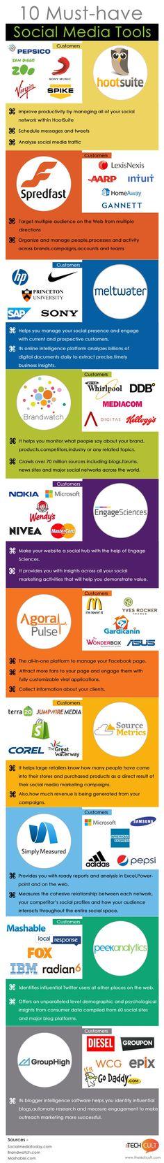 10 Must Have Social Media Tools - Infographic #emarketing #SocialMedia #MédiasSociaux