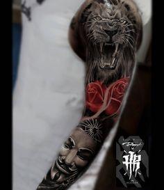 99656374f Colour Tattoo, Sleeve Tattoos, Koi, Samurai, Tatoos, Tatting, Arms,