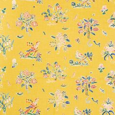 Magical Menagerie   176751 in Yellow   Schumacher Fabric    You can't help but be enchanted with this painterly study of flora and fauna that was based on an early 20th Century document in our archives.
