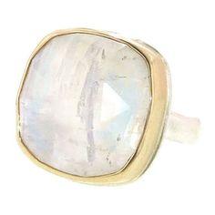Jamie Joseph Rose Cut Square Rainbow Moonstone Ring ❤ liked on Polyvore