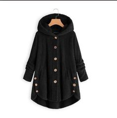 Women Button Coat Turn Down Collar Outwear Winter Jacket Hooded Pullover Loose Sweater Parka Fleece Sweater, Loose Sweater, Coats For Women, Jackets For Women, Plus Size Casual, Types Of Sleeves, Hooded Sweatshirts, Fur Coat, Hooded Jacket