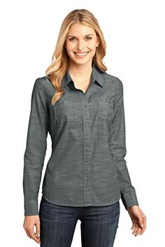 District Made Womens Long Sleeve Washed Woven Shirt S Grey >>> Check out the image by visiting the link.Note:It is affiliate link to Amazon.