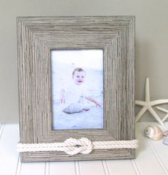 4x6 light rustic nautical picture frame rope knot decor - Nautical Frames