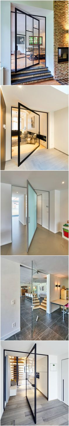 Glass pivot doors with unique central pivoting hinge. The hinge system doesn't require any parts in the floor. It's mounted on top of any finished floor, even equipped with under floor heating systems. The glass door can revolve 360° around it's central axis.