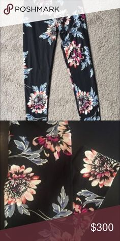 Lularoe OS peach dahlias VINTAGE Leggings Okay... so as much as I hate to do this.... I'm considering selling my Lularoe COVETED vintage peach dahlia leggings in one size.. made in the USA..... and I paid alooooooot for these like an idiot ...... and when I say a lot I mean more than anyone should ever pay for leggings.... and I'm having some money troubles so I'm taking offers... please no rude pricing comments !!!! They are preowned. No holes, rips, or extreme fading. Normal wear look…