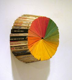 Artist Jonathan Whitfill created this sculpture of a color wheel from old paperback books displayed on a wall Resin Sculpture, Book Sculpture, Resin Art, Art Sculptures, Cool Books, I Love Books, Book Art, Things Organized Neatly, Art Plastique