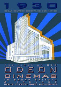 1930 Odeon Cinemas opening in Britain & Ireland mounted photo print Perry Barr, Machine Age, Great Britain, Birmingham, 1930s, Art Work, Skyscraper, Ireland, Art Deco