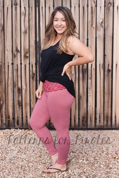 Leggings with lace waistband