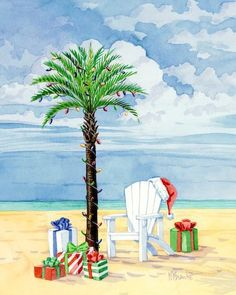 Beach Christmas card ~~<>~~ (nautical, coastal, seashore, ocean, theme, Xmas greetings)