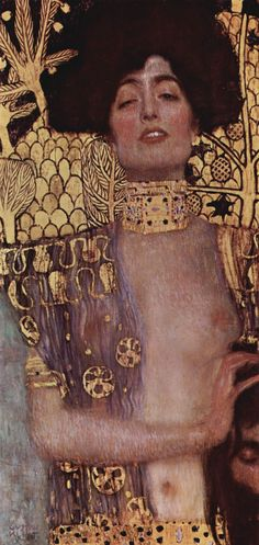 Judith and Holofernes by the Austrian Symbolist and Art Nouveau painter Gustav Klimt Judith is lasciviously caressing t. Klimt Judith, Art Klimt, Judith And Holofernes, Art Nouveau, Vienna Secession, Inspiration Art, Art Plastique, Oeuvre D'art, Les Oeuvres