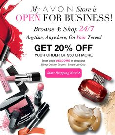 Save 20% on your online Avon order of $50 or more! #sale #coupon #avon http://www.makeupmarketingonline.com/avon-discount-code-save-20/
