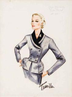 Travilla Costume design sketch for Faye Dunaway from Evita Peron. Vintage Fashion Sketches, Fashion Illustration Vintage, Illustration Mode, Fashion Illustrations, Mode Vintage, Vintage Vogue, Fashion History, Fashion Art, Fashion Design