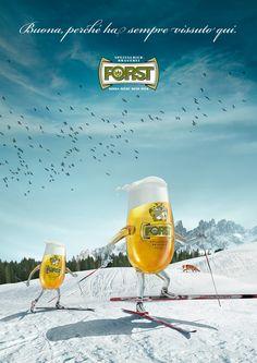 FORST beer • press campaign (ski) by filippo rieder, via Behance