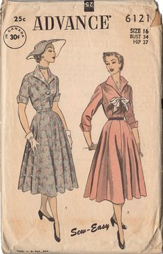 Vintage Original Advance Sewing Pattern 6121. Ladies 1950s belted dress with full skirt. Short or three quarter sleeves. Pattern pieces have been counted. Pattern is complete with instructions. Envelo