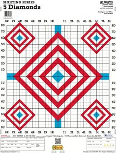 5 Diamonds - a paper shooting target featuring grids with red and blue diamonds made for precision sighting practice. Target size: x Stand sold separately.