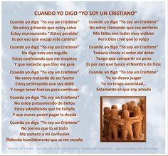 www.whenisayiamachristian.com  Spanish Translation Christian Decor, Cristiano, Christianity, Decir No, Qoutes, Spanish, Poems, Sayings, Garden Ideas