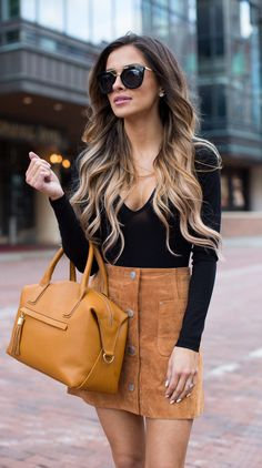 summer outfits  Black Top + Camel Suede Skirt