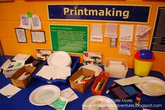 Adventures of an Art Teacher printmaking station that has foam that can be drawn into and printed with markers and damp paper