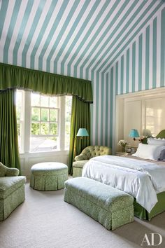 Ceiling Paint Ideas and Inspiration - Architectural Digest green white stripe bedroom walls & ceiling
