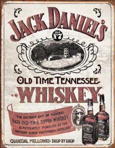Jack Daniel's Old Time Tennessee Sippin Whiskey Distressed Retro Vintage Tin Sign Vintage Labels, Vintage Ads, Vintage Posters, Whisky, Vintage Metal Signs, Old Signs, Jack Daniels Whiskey, Old Ads, Vintage Advertisements