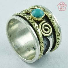 TURQUOISE STONE 925 STERLING SILVER SPINNER RING,R5022 FOR YOUR LOVED ONES #SilvexImagesIndiaPvtLtd #Spinner #AllOccasions