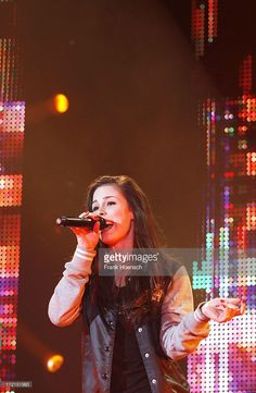 German singer Lena performs live during a concert at the O2 World on April 13, 2011 in Berlin, Germany.