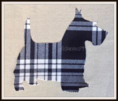 1x 6 1/2 in. Sc03. Large Scottie Dog, Black & White Tartan, Wool Fabric,Cut Out, Iron On, Appliqué by Nairncraft on Etsy£3 plus P&P.#Scottish