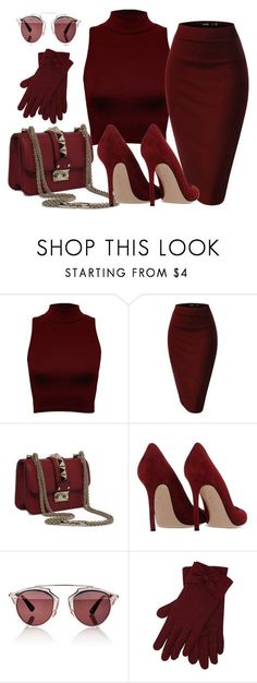 """BURGUNDY"" by samstyles001 on Polyvore featuring WearAll, Gianvito Rossi, Christian Dior and M&Co"
