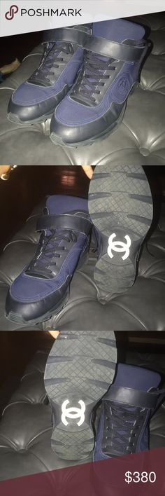 Chanel sneakers have been worn. Price negotiable Aunthentic. but Have Been worn Multiple Times.  A Few Scratches and creases but still wearable.  Navy blue and black  Chanel sign scuffed up on bottom from walking CHANEL Shoes Sneakers