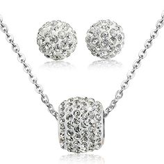 Jstyle Stainless Steel Cubic Zirconia Necklace for Women Ball Stud Earrings Jewelry Set Elegant Silvertone -- Click image to review more details.-It is an affiliate link to Amazon. #WeddingEarrings