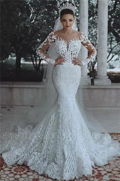 ffd4c2d6b16e2 2018 Luxury Beaded Lace Mermaid Wedding Dresses with Sleeves | Sheer Tulle  Appliques Cheap Bride Dresses