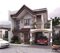 Modern house exterior design reflects the entire style of the space and the tradition as well Two Story House Design, 2 Storey House Design, Two Storey House, Bungalow House Design, House Front Design, Small House Design, Modern House Design, My House Plans, Modern House Plans
