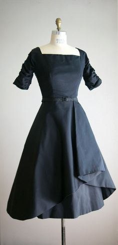 1950's Adele Simpson Satin Dress. change neckline. but look at the hem
