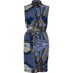 Blue geometric print sleeveless shirt dress at River Island Spirit Of Summer, River Island Dresses, Sleeveless Shirt, Shirt Dress, Maxi Styles, Evening Dresses, Dresses Dresses, Shirts, Lady