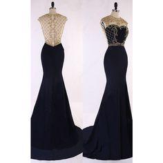 Dark Navy Satin Tulle Sweep Train Beading Trumpet Mermaid Long Prom... ($149) ❤ liked on Polyvore featuring dresses, long prom dresses, long satin dress, blue satin dress, prom dresses and long beaded dress